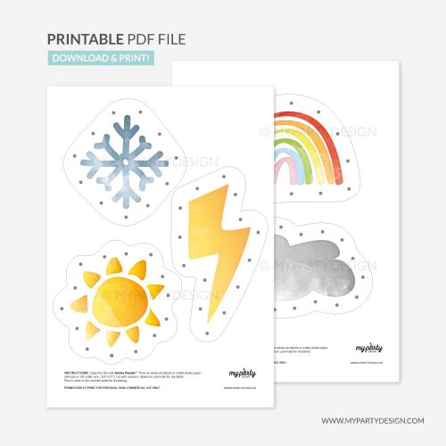 printable weather threading cards, learning printables
