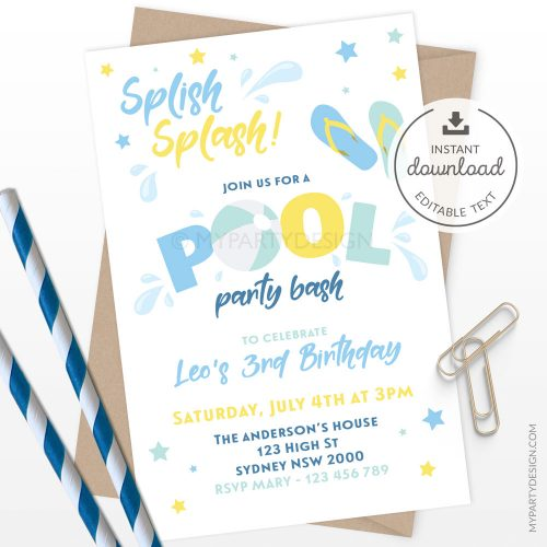 Pool party invitation in blue