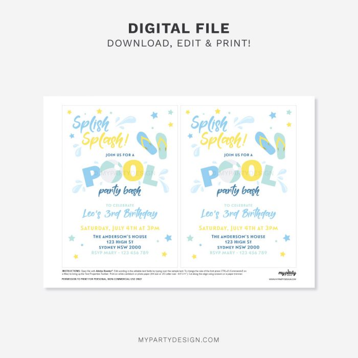 printable Pool party invitation in blue