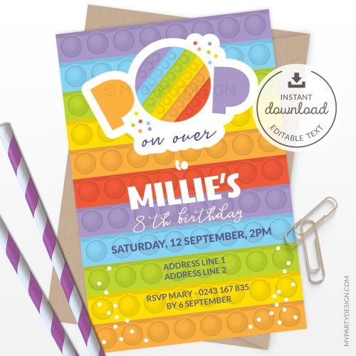 Pop Party Invitation for a fidgeting toy birthday