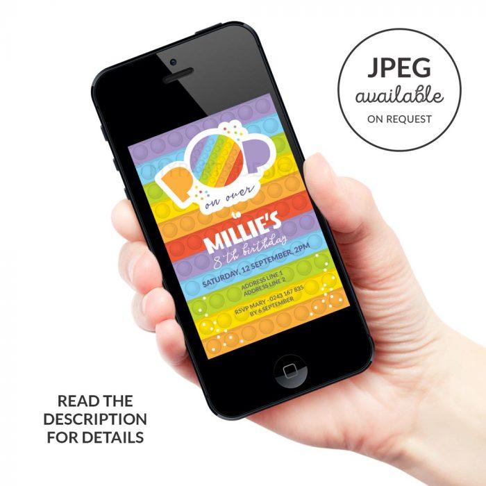 digital Printable Pop Party Invitation for a fidgeting toy birthday