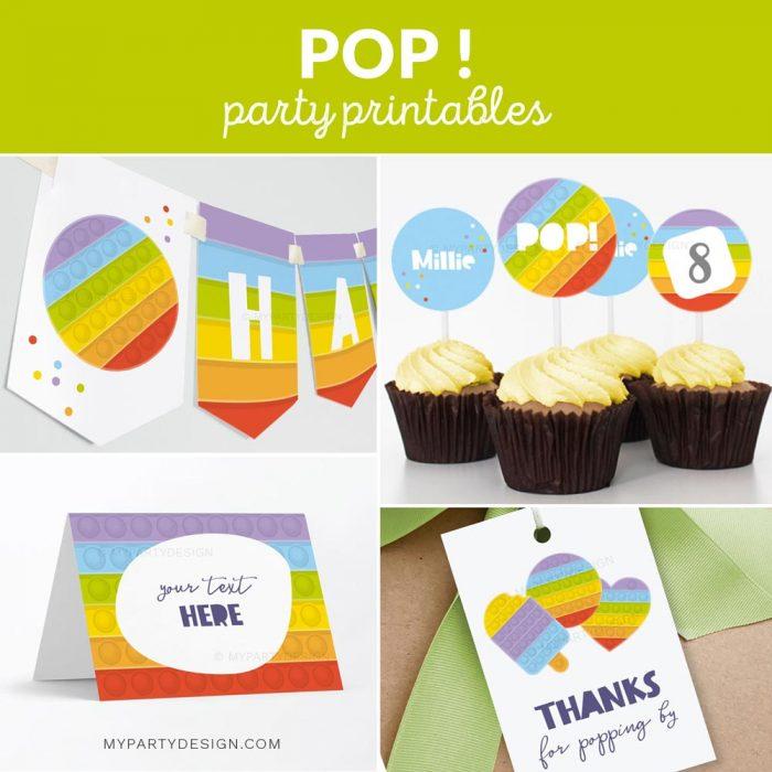 pop party decoration printables
