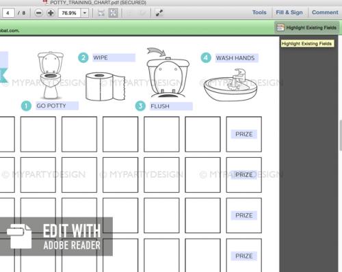 editable potty training chart printable