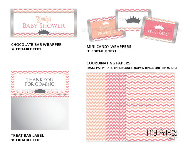 printable little princess baby shower party decorations