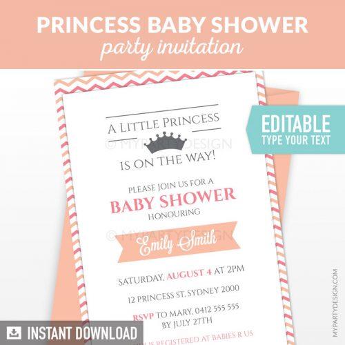 little princess baby shower invitation printable and editable