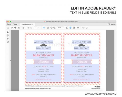little princess baby shower party invitation - editable printable invite