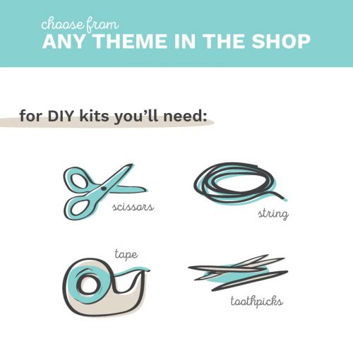 DIY Party Kits professionally printed and delivered to you