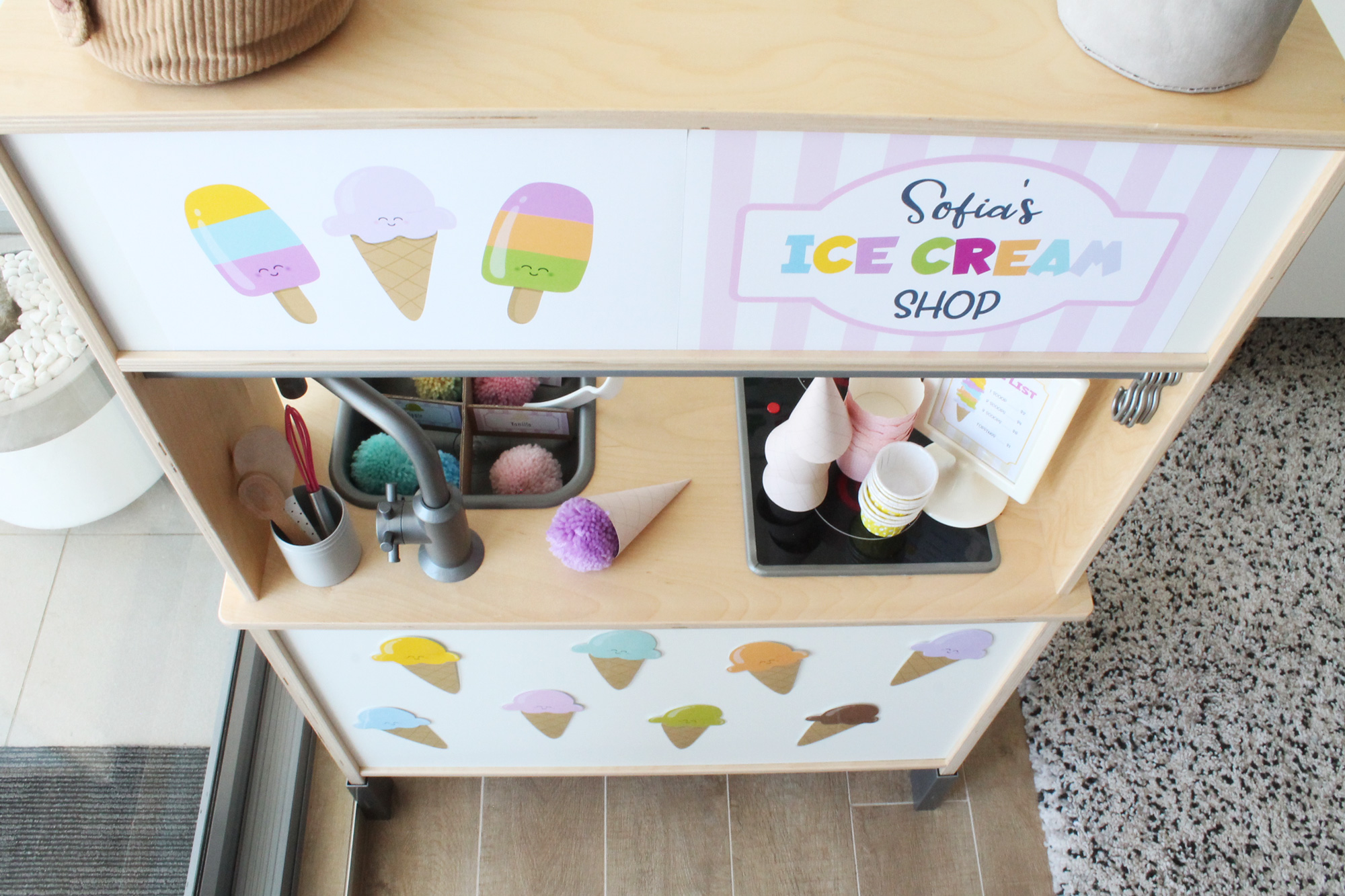 Ice Cream Shop dramatic play printables with ikea play kitchen hack