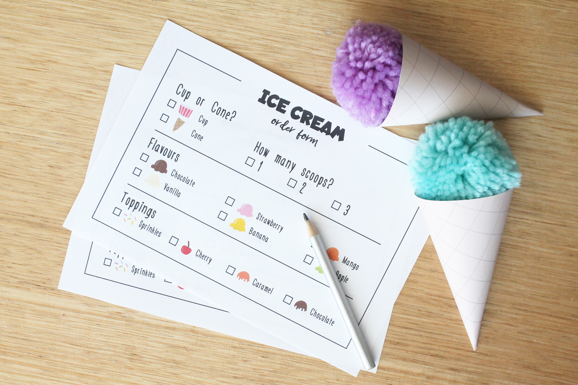Ice Cream order forms from the Ice Cream Shop dramatic play printables
