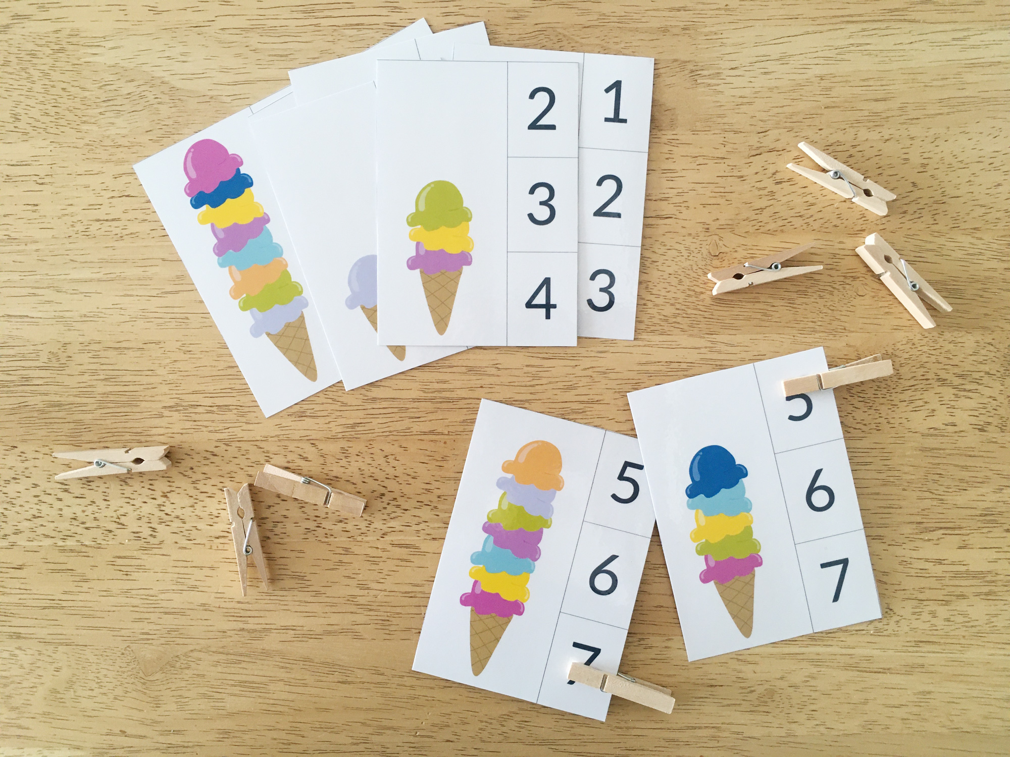 Printable Ice Cream counting cards