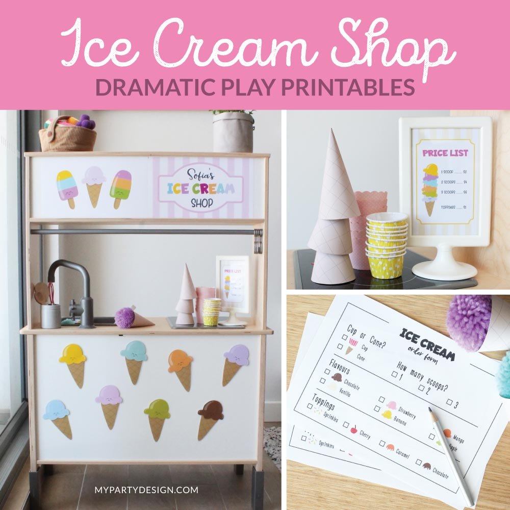 Ice Cream Shop Dramatic Play Printables for pretend play