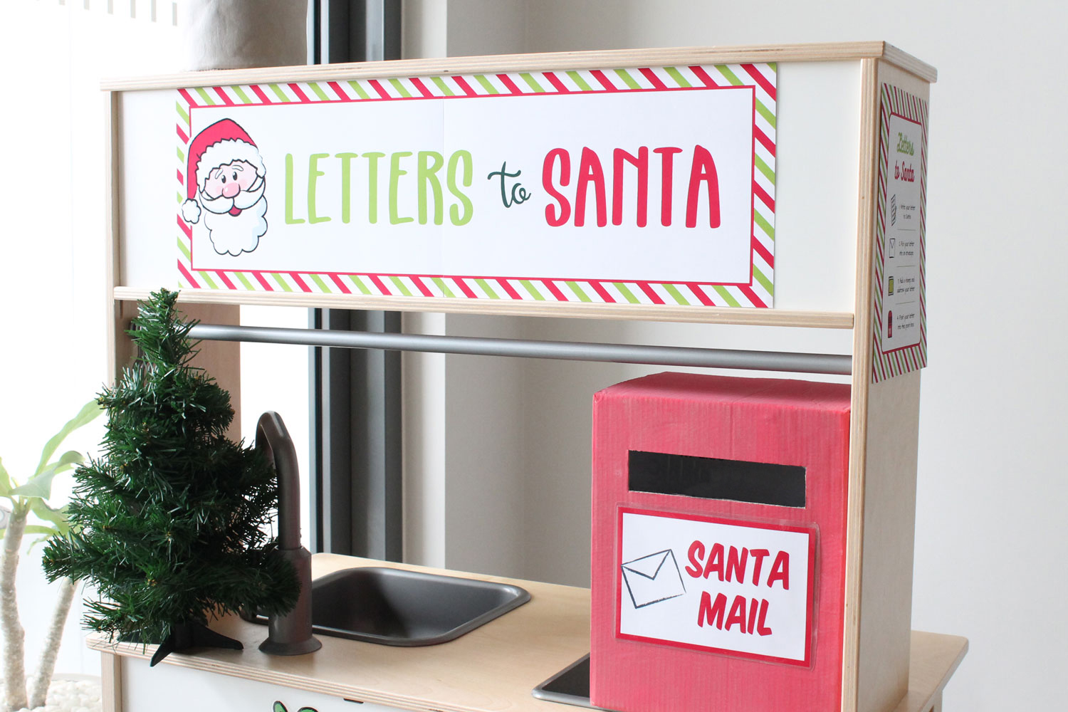 Letters to Santa Printables for Dramatic Play with ikea play kitchen
