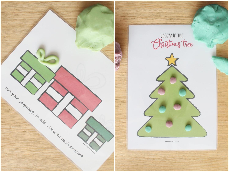Christmas Printable playdough mats