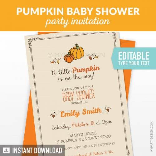 little pumpkin baby shower invitation printable and editable