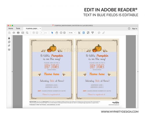 little pumpkin fall baby shower party invitation - editable printable invite