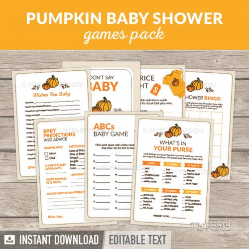 Pumpkin Baby Shower Games Printables for a Fall Baby Shower