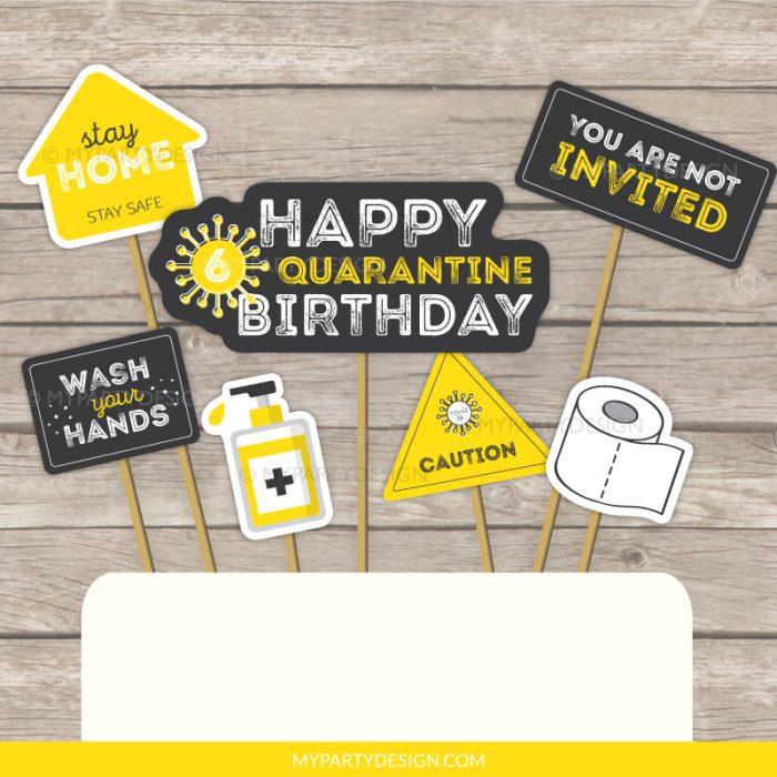 quarantine cake topper - lockdown party printables