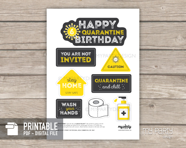 quarantine birthday cake topper - social distancing party printables