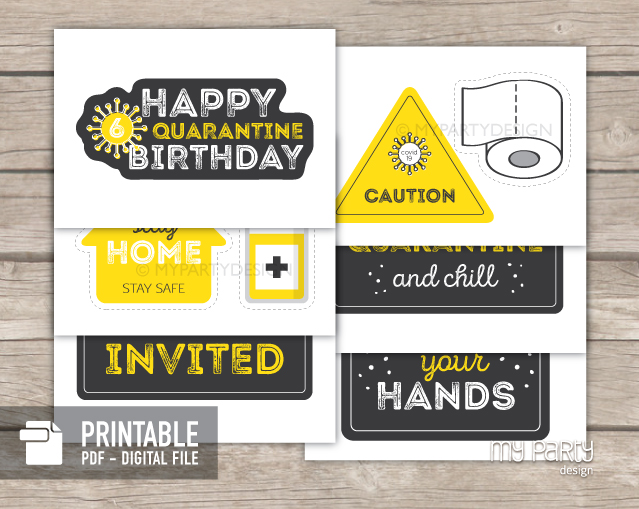 quarantine photo props - social distancing party printables