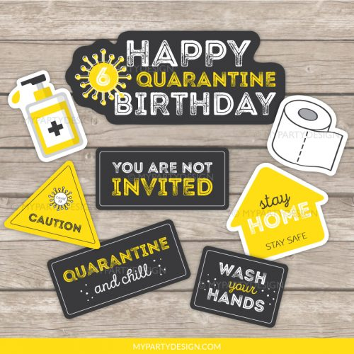 quarantine birthday photo props - lockdown party printables