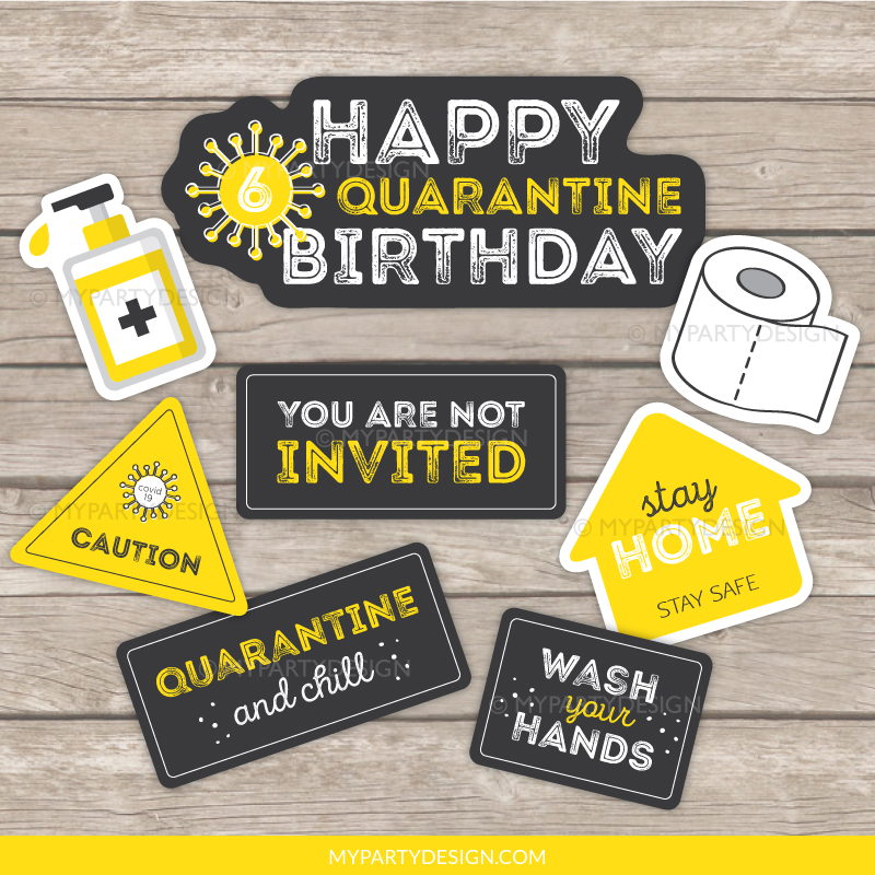 quarantine birthday photo props - lockdown party printables