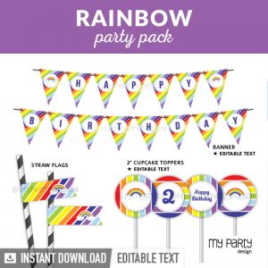 Rainbow party decorations, printable PDF