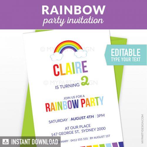 rainbow birthday invitation printable