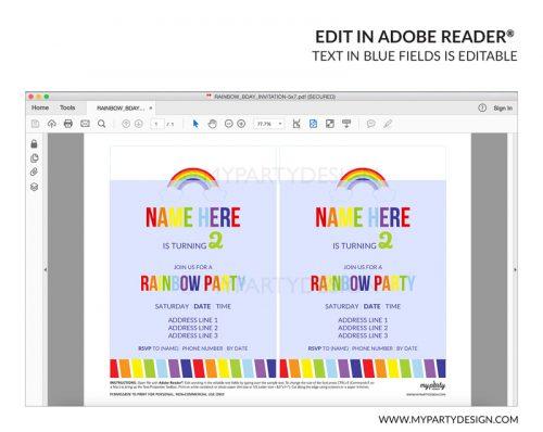 rainbow party invitation - editable printable invite
