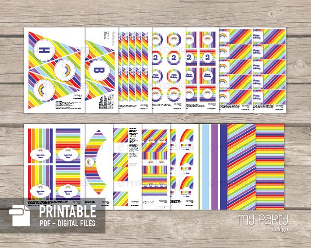 Rainbow party decorations, printable PDF