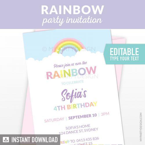 pastel rainbow party invitation printable