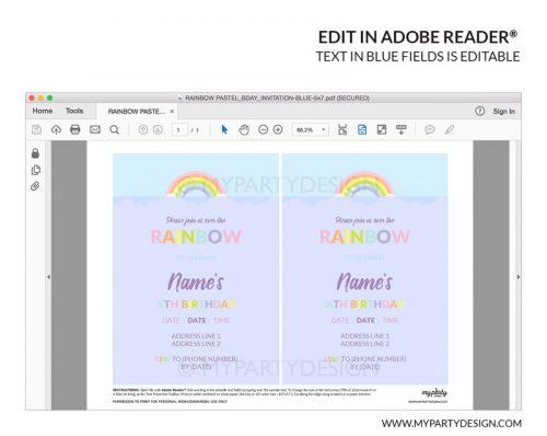 rainbow party invitation printable