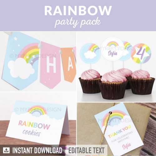 pastel rainbow party decoration printables