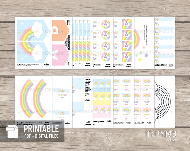 rainbow party decoration printables