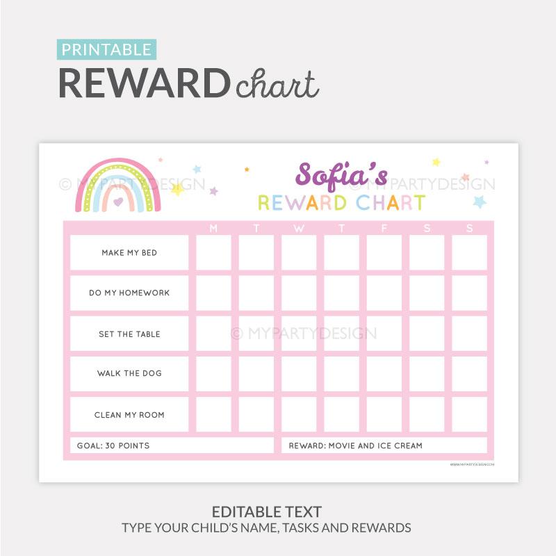 Reward Chart Printable for girls - pink rainbow