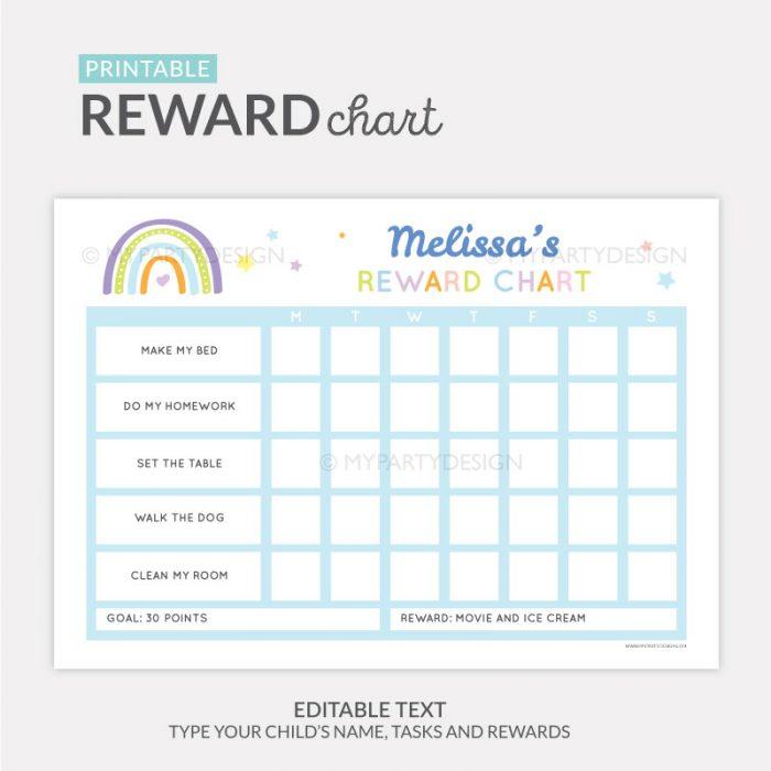 Reward Chart Printable for girls or boys - blue rainbow
