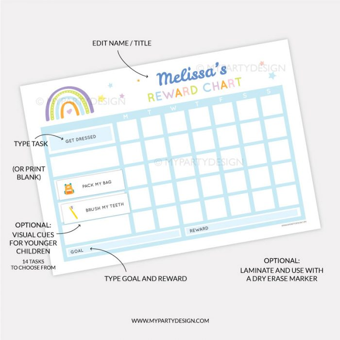 Printable Reward Chart for girls or boys - blue rainbow