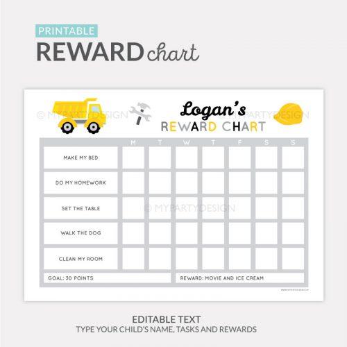Reward Chart Printable for boys - construction truck theme