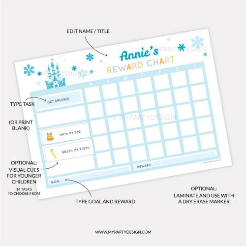 Printable Reward chart for girls - blue ice princess