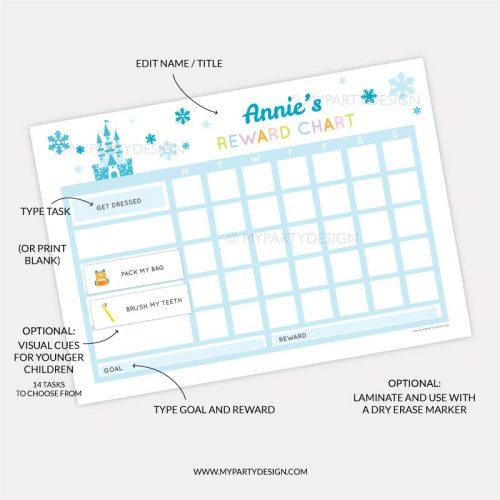 Printable Reward chart for girls - blue ice princess