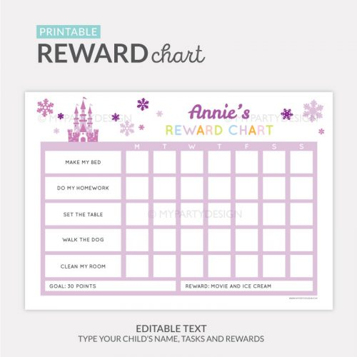 Reward Chart Printable for girls - purple ice princess