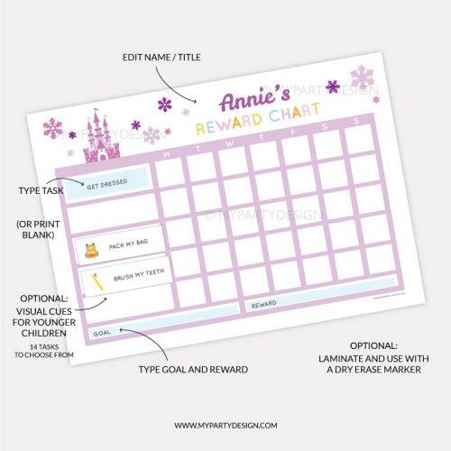 Printable Reward chart for girls - purple ice princess