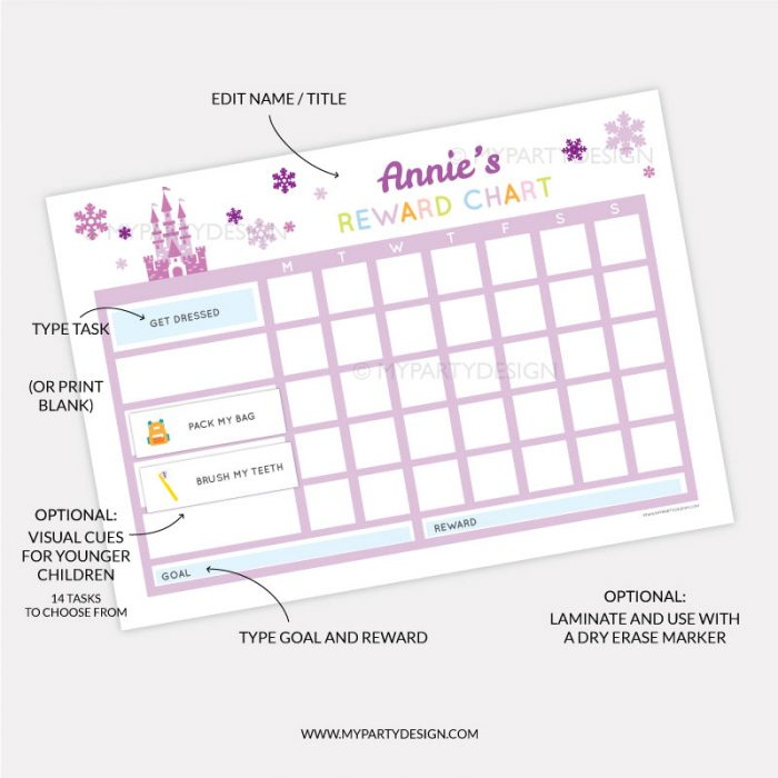Printable Reward chart for girls - purple ice princess