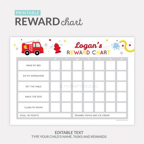 Reward Chart Printable for boys - firetruck theme