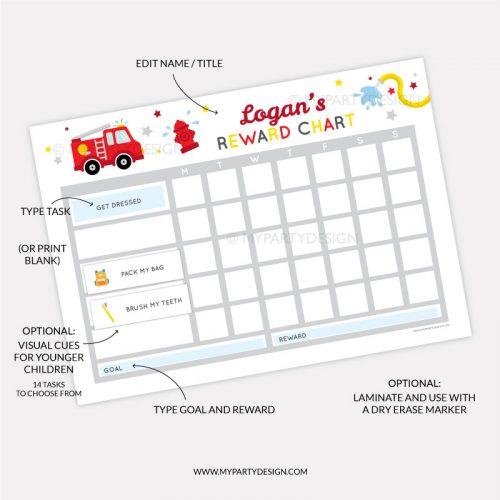 Printable Reward Chart for boys - firetruck theme