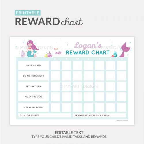 Reward Chart Printable for girls - mermaid theme