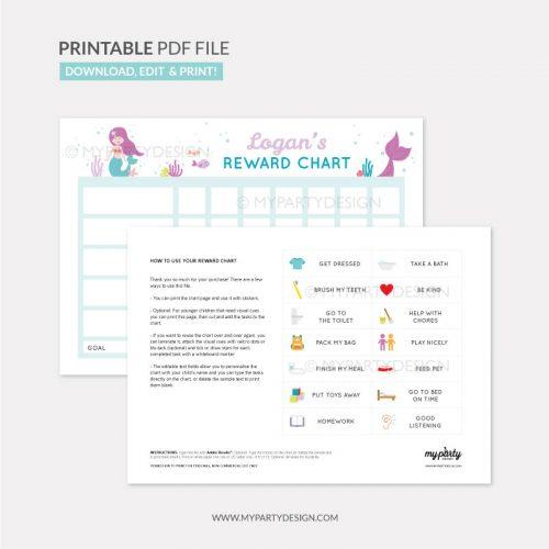 Reward Chart Printable for girls - mermaid theme