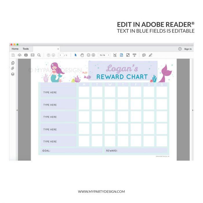 Editable Reward Chart Printable for girls - mermaid theme