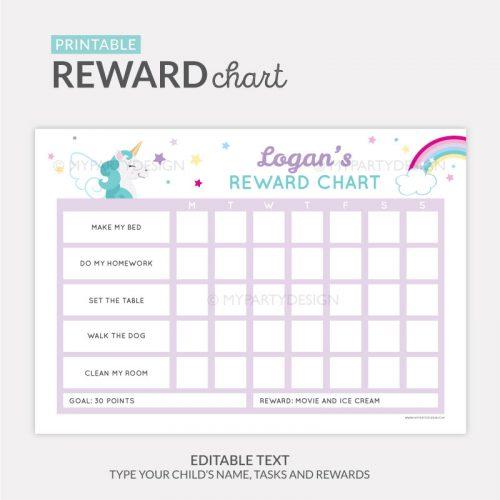 Reward Chart Printable for girls - unicorn theme