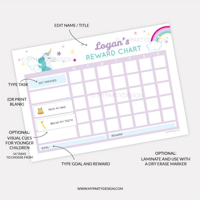 Printable Reward Chart for girls - unicorn theme