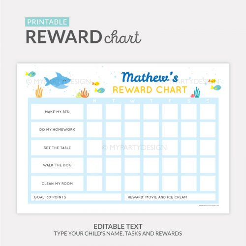Reward Chart Printable for boys or girls - shark theme